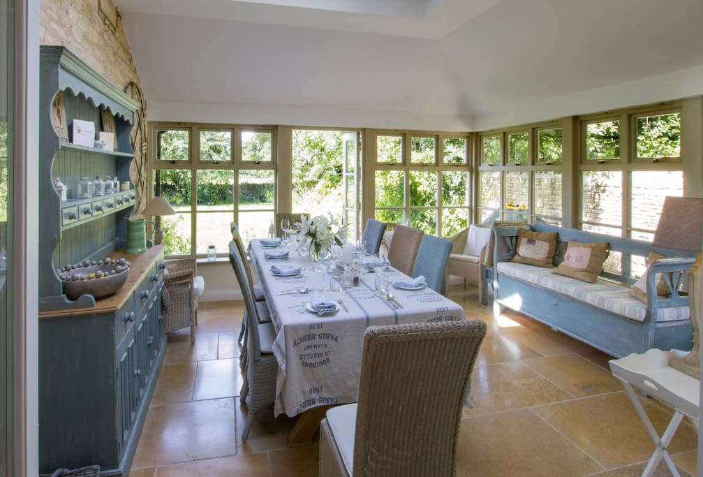Ground floor: Garden room leading from kitchen with dining table