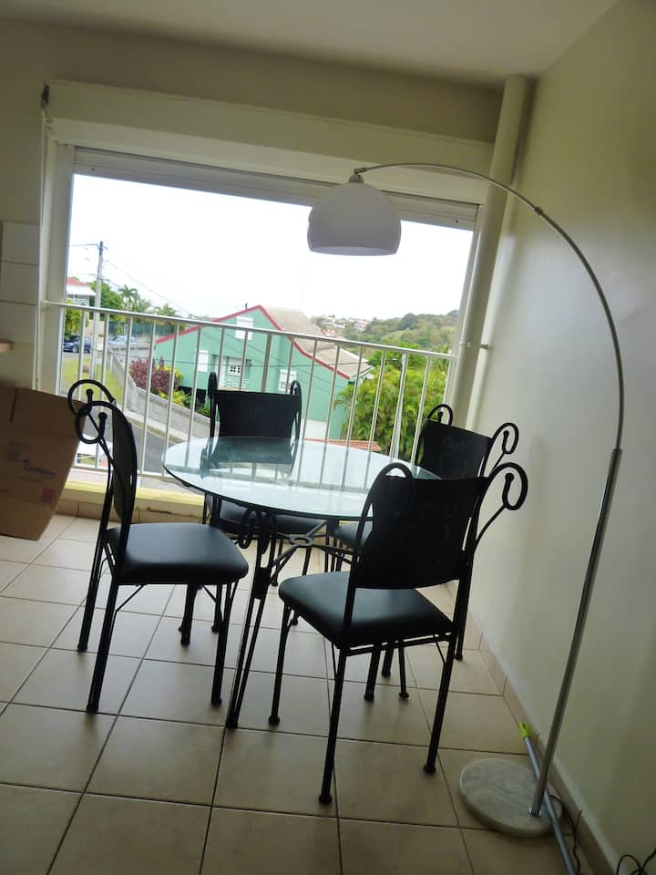 Apartment with one bedroom in Schoelcher, with wonderful sea view, terrace and WiFi - 3 km from the beach