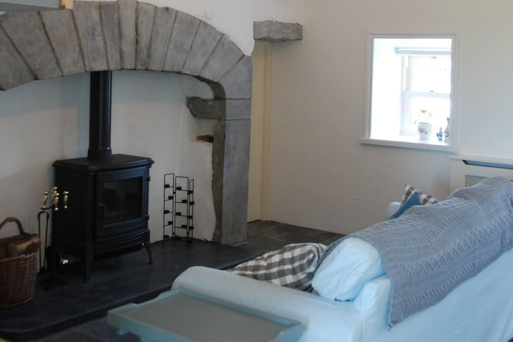 Original Living room with solid fuel stove