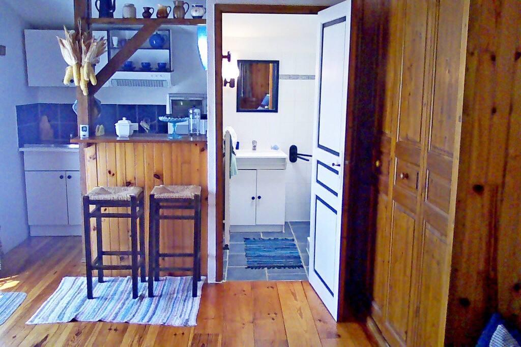La Kitchenette bar américain et la porte de salle d'eau ouverte placard penderie à droite