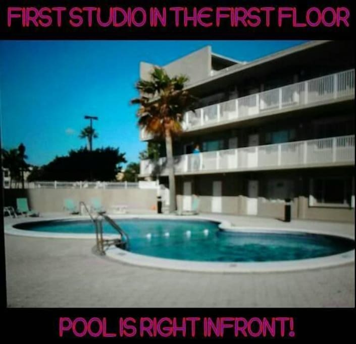 First apt pool and ocean view .