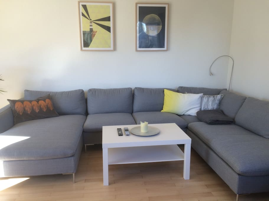 Huge and comfy sofa in living room.