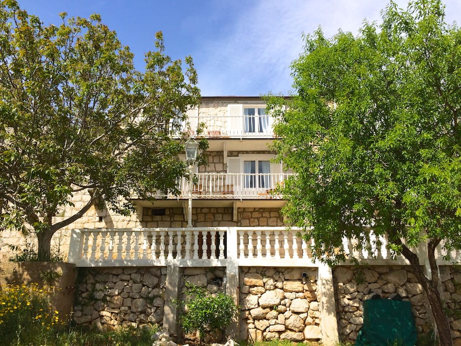 Villa Veli front, view from garden terrace