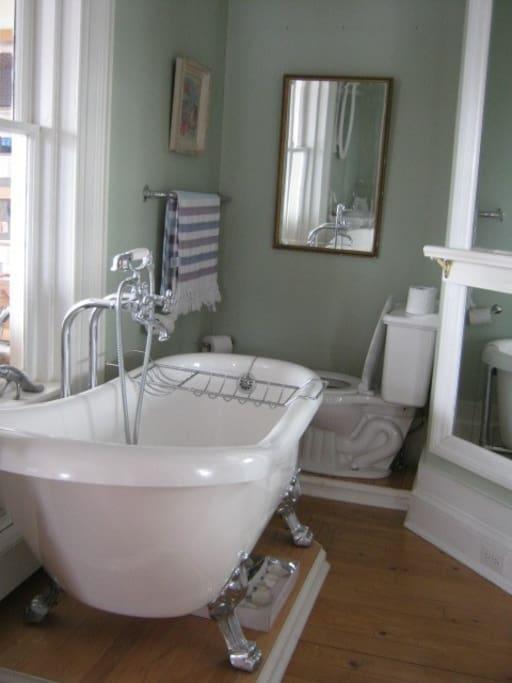 Designer bathtub to relax in.