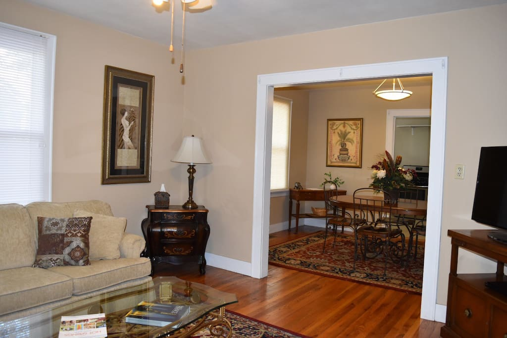 Living room heading into dining room.