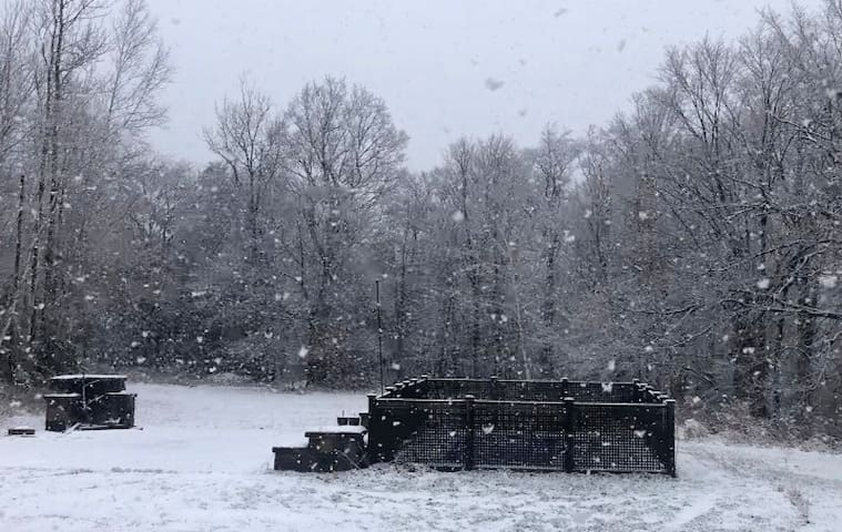A snowy day is perfect for a dip in the hot tub!