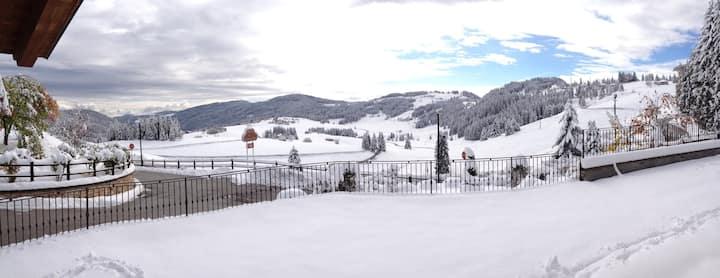 Spettacolare vista su prati e boschi del Trentino