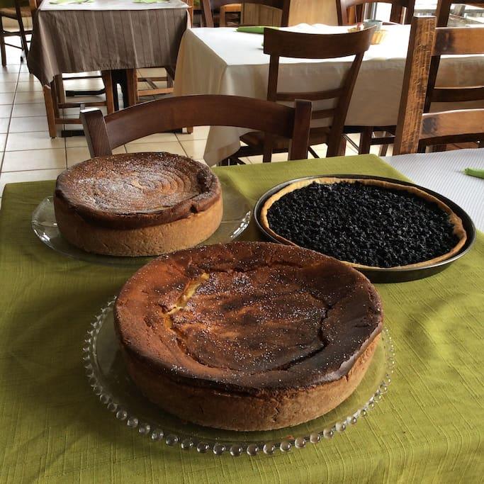 """Spécialités Alsaciennes tarte """"maison """" au fromage blanc et tarte aux myrtilles"""