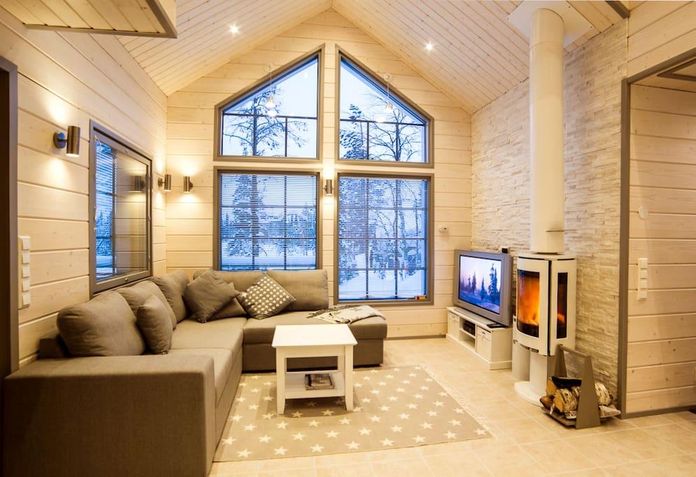 Comfortable sofa, fireplace and large windows.