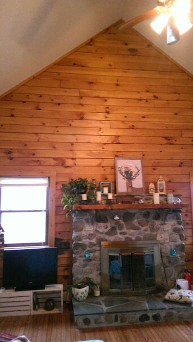 View of the fireplace in the living room.