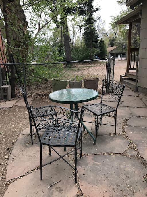 One of the side yard sitting areas.