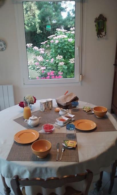 Vue sur jardin pendant le petit déjeuner