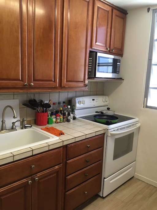 Feel free to use the kitchen and laundry room.