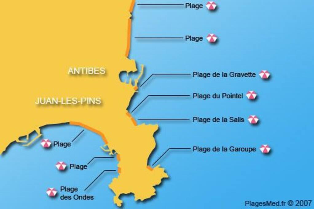 Plages de sable d'Antibes, l'appartement se situe entre la Gravette et le ponteil