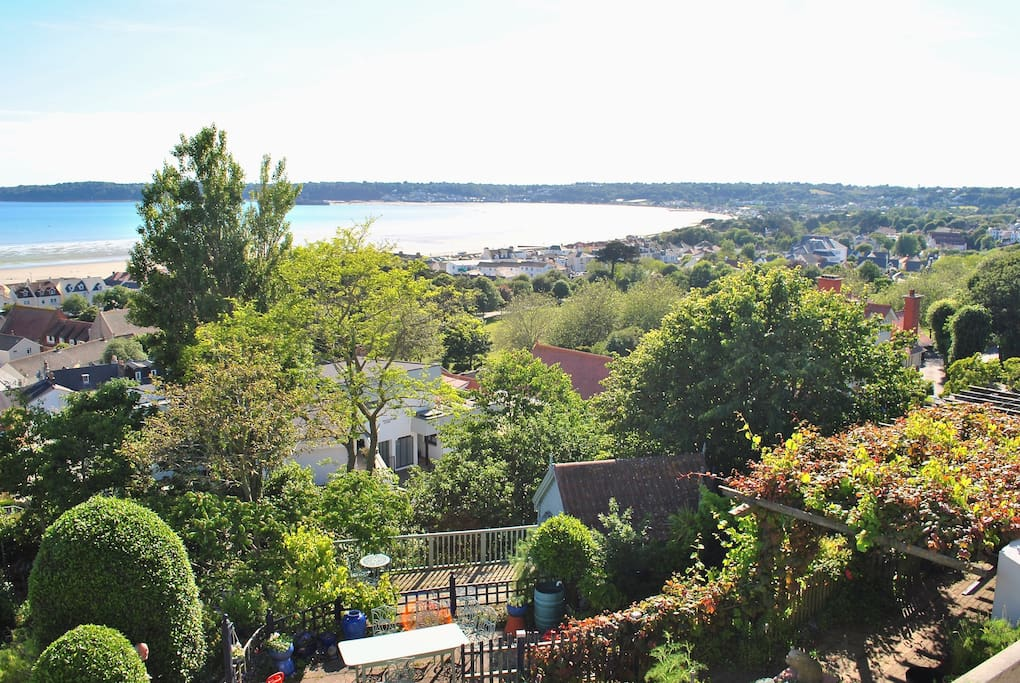 The garden and view West towards St Aubin