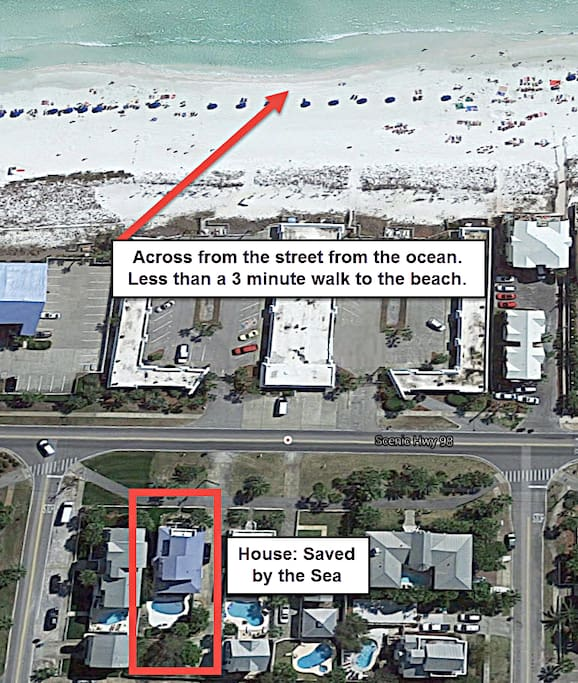 Less Than a 3 Minute Walk to the Beach (Across the Street)