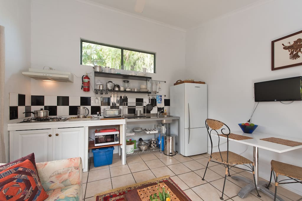 Large fridge suitable for longer bookings and self-catering.