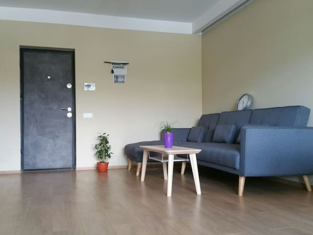 Entrance of the apartment with extension couch for 3 persons.