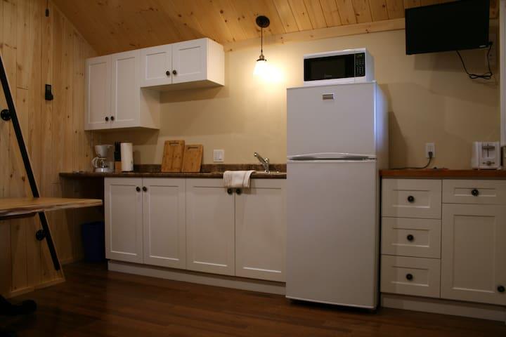 High efficiency kitchen, micro wave, induction cook top, dishes...everything you will need