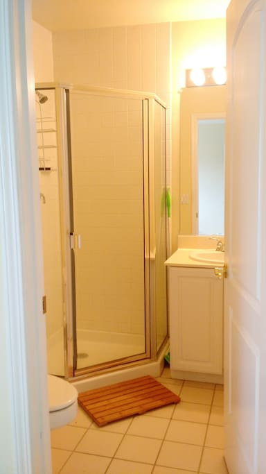 Private bathroom attached to bedroom. Shower, but no tub. We have towels, soap,  and shampoo.