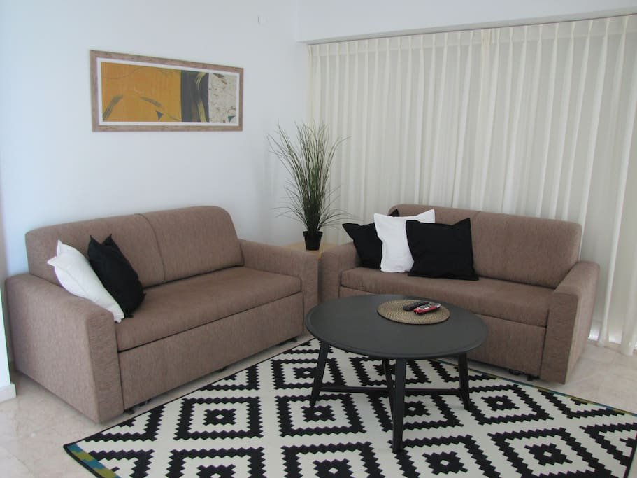 Bright, Living Room With Two Sofa Sleepers