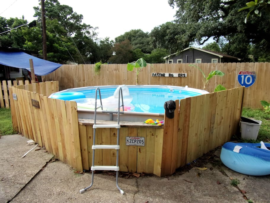 Outdoor pool in back yard