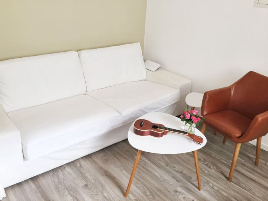 Very comfortable couch can host an additional person