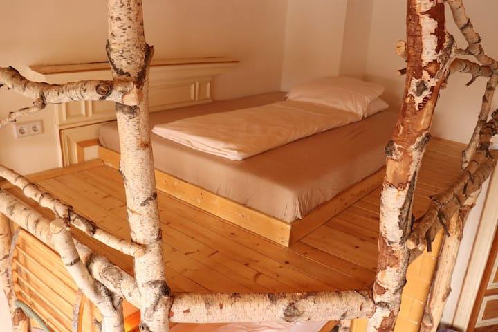 Birkenbett im urigen 5-Bett Dorm