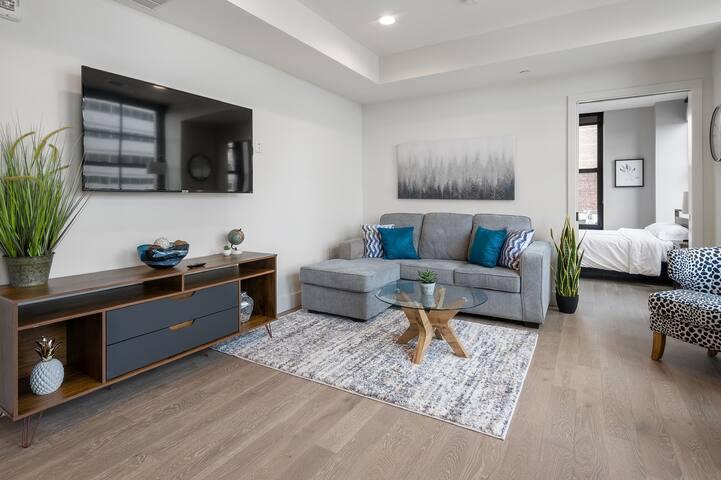 Living room with swivel mount roku 55inch smart tv