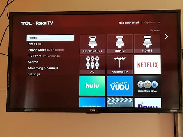Roku tv. Just enter your account info and watch like you're at home. Also local air channels.
