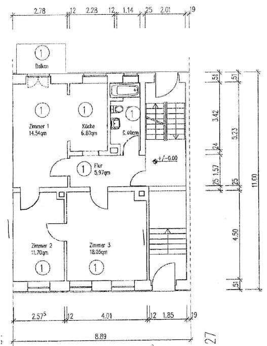 Der Grundriss: die Wohnung ist sehr praktisch geschnitten