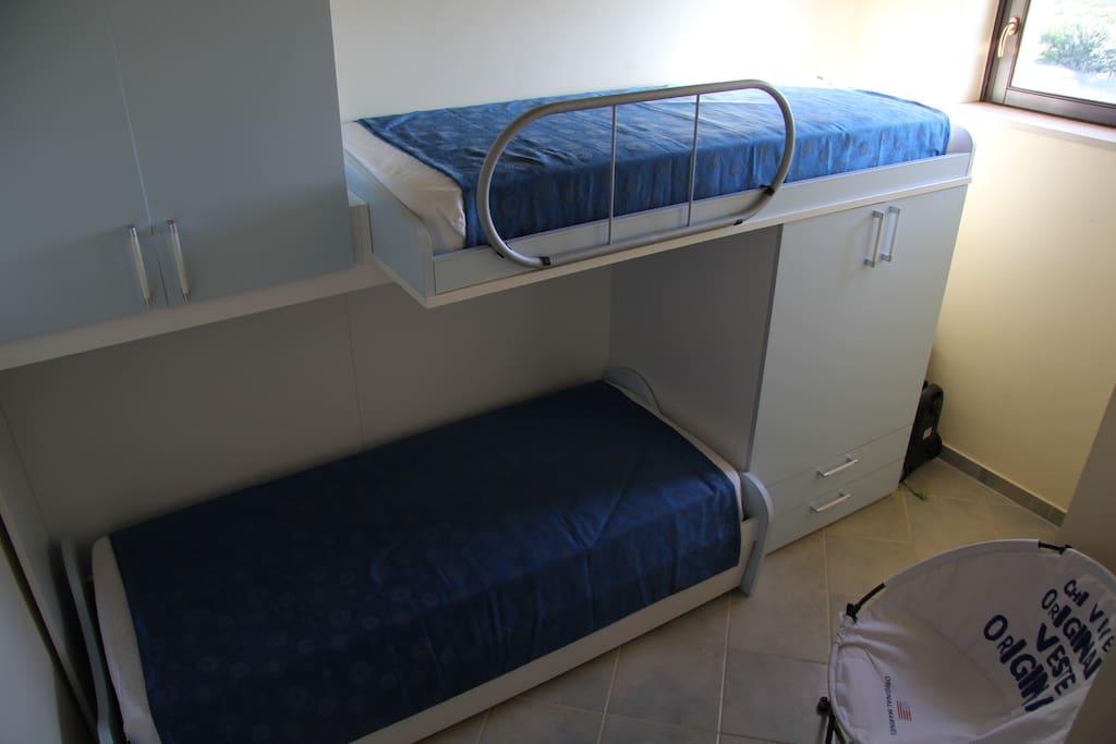 camera da letto con letti a castello