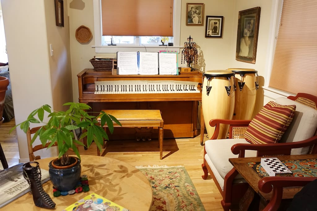 Cozy coffee nook.  Piano anyone?