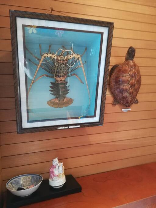 玄関 大きな伊勢エビと海亀がお出迎えします!Big lobster & turtle welcome you guys!