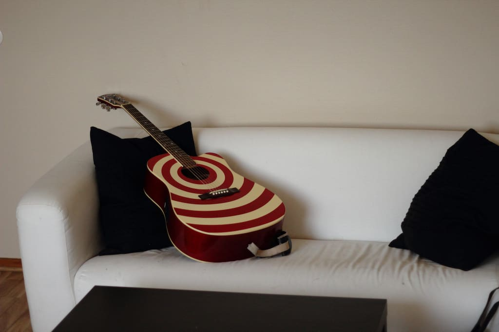 The couch (which is normally not equipped with a guitar)