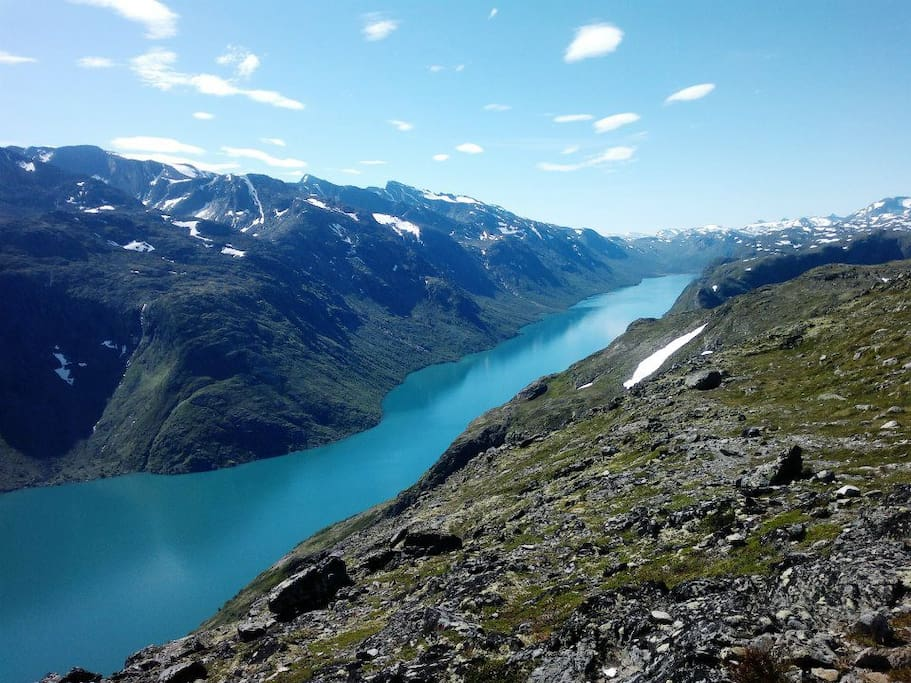 40 mins. drive and you can take a hike on popular 'Besseggen' over the emerald green lake 'Gjende'.