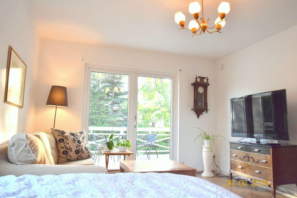 Vardagsrum/sovrum med 120-säng