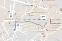 """Walking distance from the apartment to the metro/train station """"São Bento"""""""