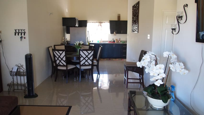 Open floor living/ dining room and kitchen