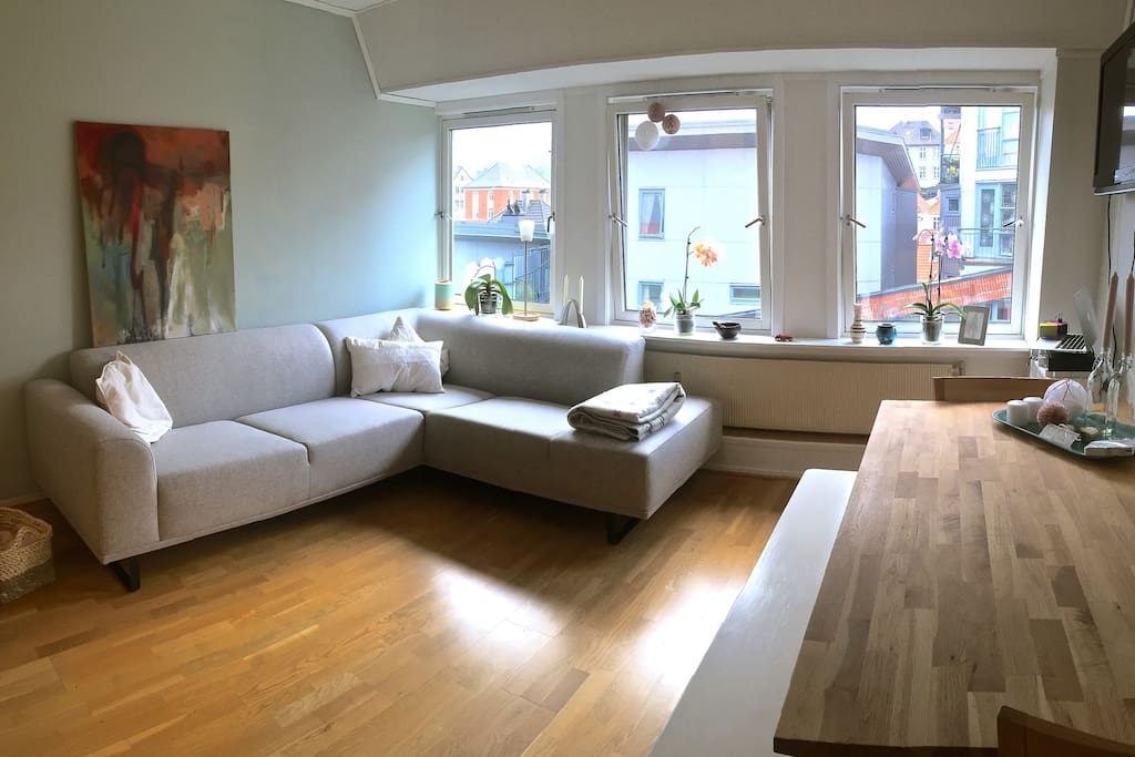 Bright living room, with comfortable sofa and large dining table, two chairs and a bench.