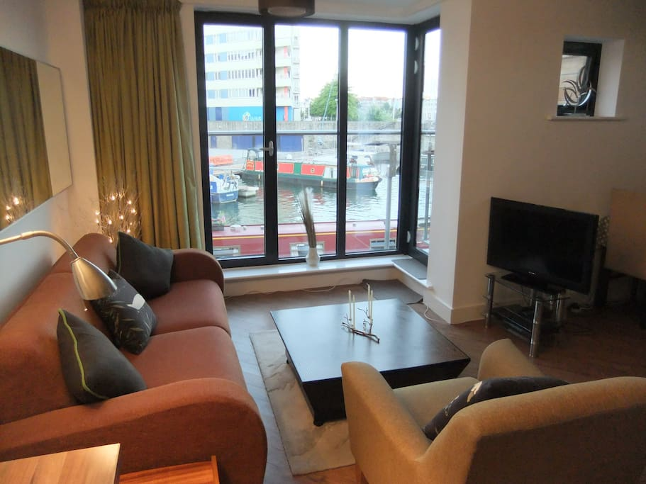 Views onto the harbour inlet. The sofa converts to a very comfortable double bed.  There is also a spare wardrobe and drawer space in this room