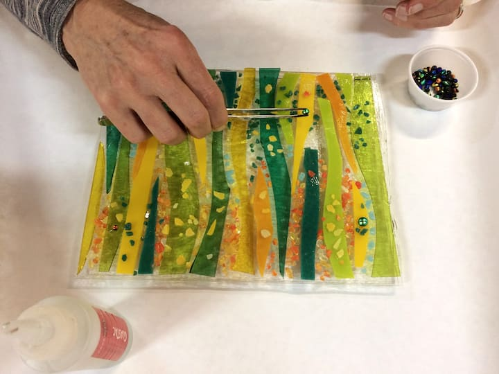 A glass piece in process