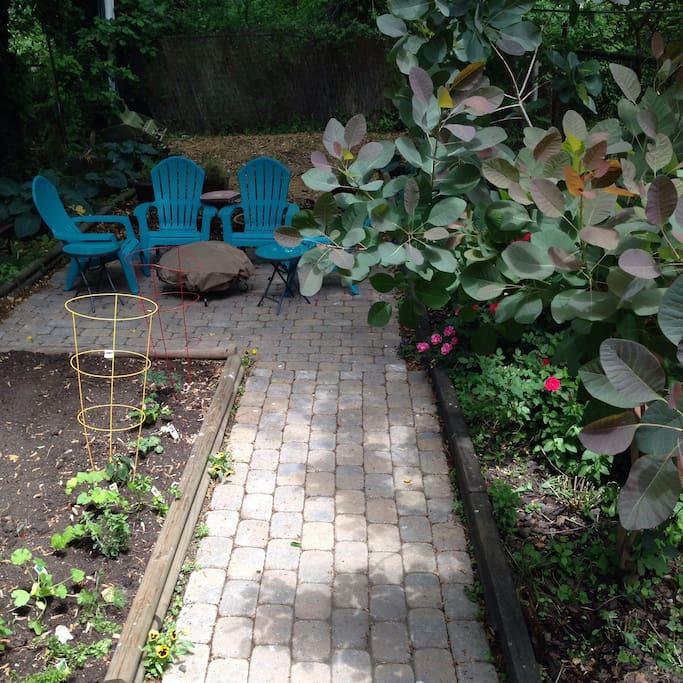 Backyard with herbal/vegetable garden