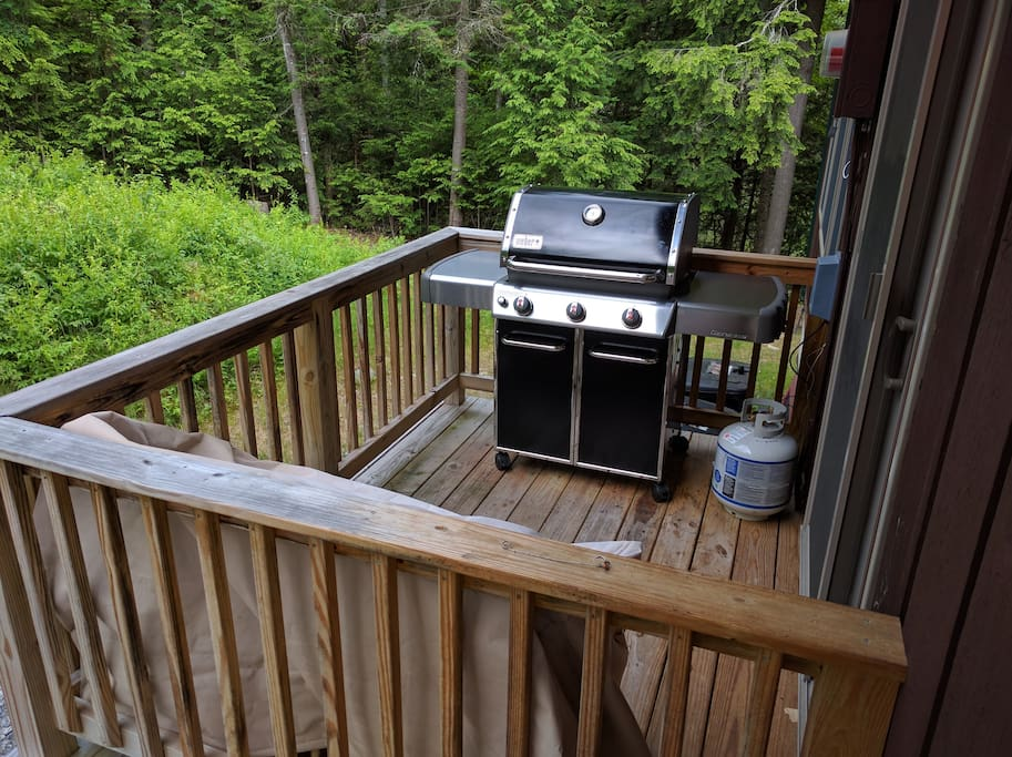 A new gas grill is on the balcony directly off the kitchen.