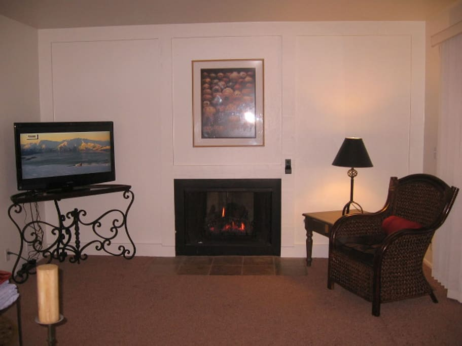 Gas Fireplace and 42 inch TV