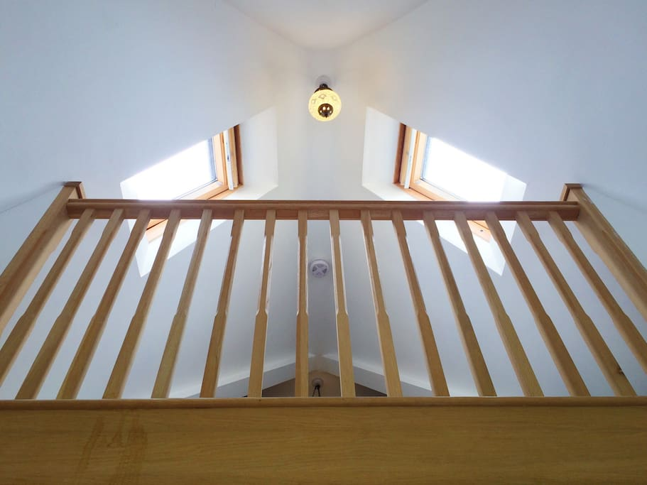 The gallery overlooks the bedroom and can sleep one adult or two children