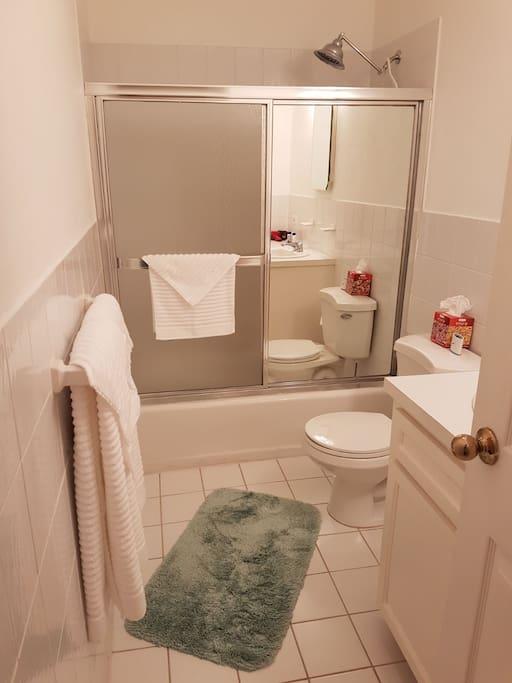Upgraded Bathroom with Rain Shower head