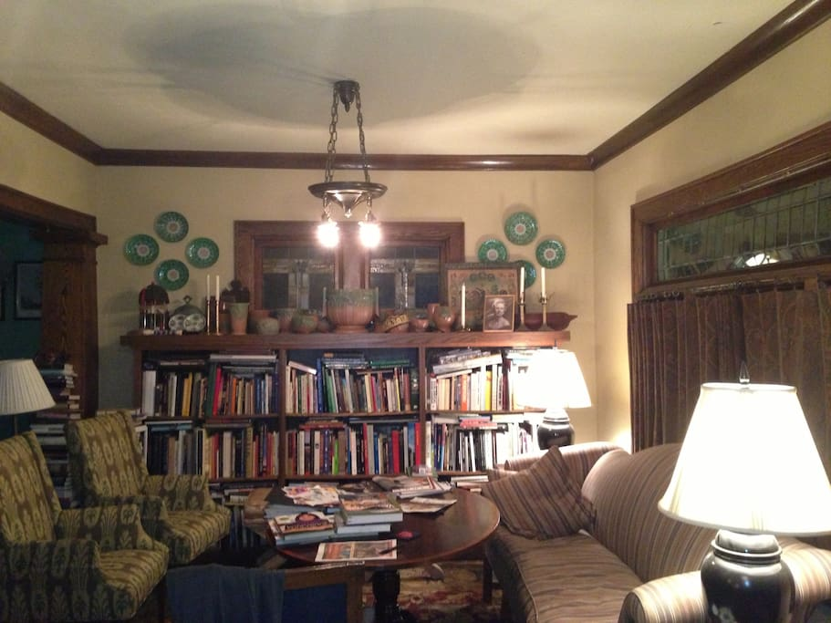 Lots of books - comfortable living room...