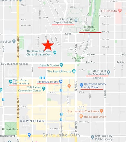 Within a 5-10 minute walk to the LDS Family History Library, Salt Palace Convention Center, Eccles Theater, Sports Arena, Harmons grocery store, City Creek Center, Memory Grove Park, Utah State Capitol Building, Cathedral of the Madeleine and more.