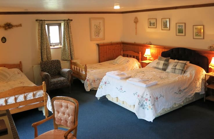 BarleyBarn-En-suite family bedroom Huxtable Fm B&B